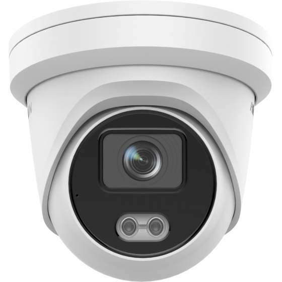 Hikvision DS-2CD2347G2-LU-2.8MM 4MP ColorVu AcuSense IP Network Turret 2.8mm Fixed w/Mic 12VDC/PoE - White